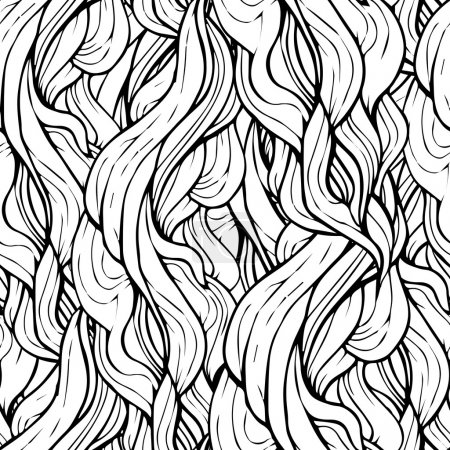 Seamless wave hand-drawn pattern, waves background in black and white