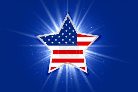 Illustration for American flag inside a glowing star background - Royalty Free Image