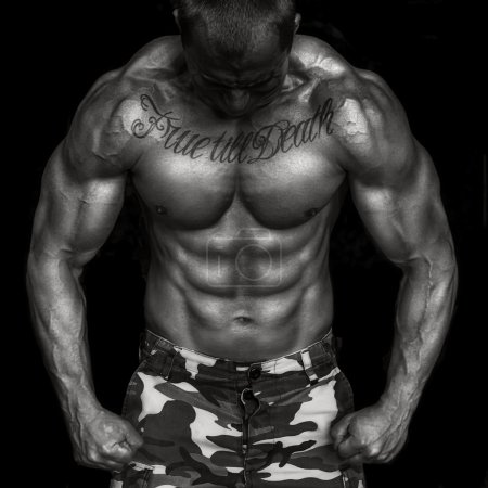 Bodybuilder black and white power and strength
