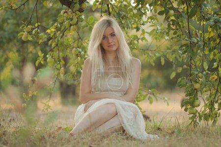 Photo pour Belle jeune femme mignonne dans une robe blanche dans le jardin vert, sédit sur l'herbe sous le pommier - image libre de droit