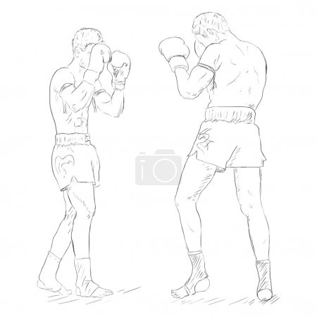 Two Thai Boxers Fighting