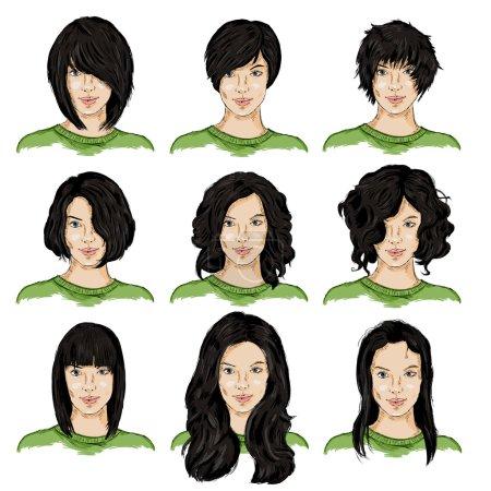 Illustration pour Ensemble vectoriel de croquis couleur différentes coiffures de femmes - image libre de droit