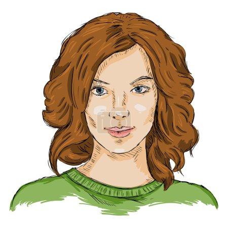 Illustration pour Croquis vectoriel simple visage féminin. Coiffure femme . - image libre de droit