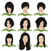 Set of Color Sketch Female Faces