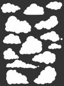 Set of White Silhouette Clouds Vector  Illustration
