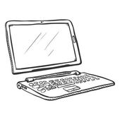 Vector Single Sketch Transformer Laptop Tablet and Keyboard