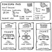 Vector Set of Sketch Tickets for Plane Bus Tram and Trolley Bus