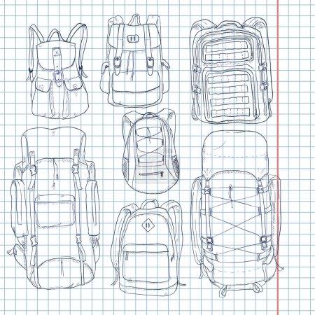 Photo pour Ensemble vectoriel de sacs à dos de croquis sur papier à carreaux - image libre de droit
