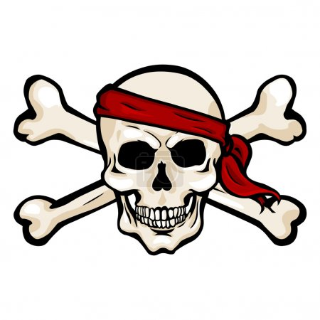 Pirate Skull in Red Headband with Cross Bones
