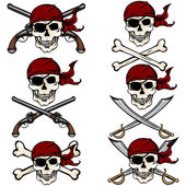 Pirate Skulls in Red Bandana