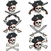 Set of Cartoon Pirate Skulls in Tricorn