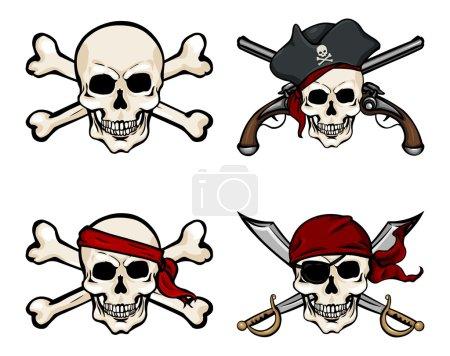 Cartoon Pirate Skulls