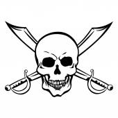 Lineart Skull pirate symbol illustration with swords