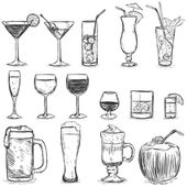 Vector Set of Sketch Cocktails and Alcohol Drinks Vector illustration