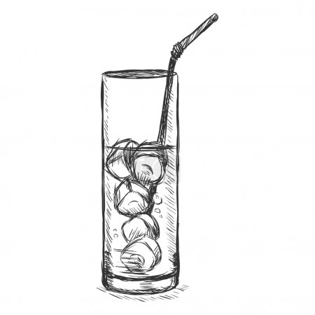 Illustration pour Vector Sketch Glass of Lemonade on the Rocks with a Straw. Vector illustration - image libre de droit