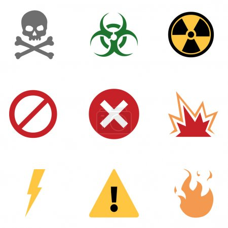 Illustration for Vector Set of Warning Icons - Royalty Free Image