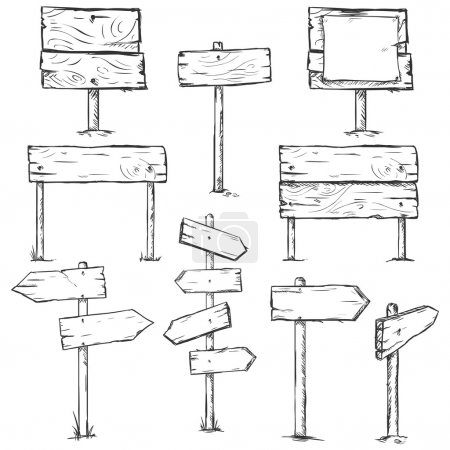 Illustration for Vector Set of Sketch Signposts - Royalty Free Image
