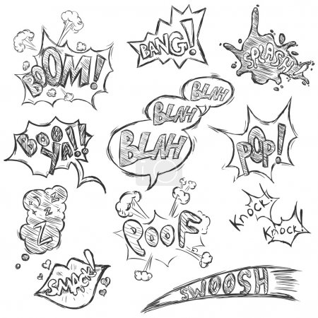 Illustration for Vector Set of Sketch Comics Phrases and Effects. Boom, Bang, Splash, Boo ya, Blah-blah-blah, Pop, Z-z-z, Smack, Poof, Knock Knock, Swoosh. - Royalty Free Image
