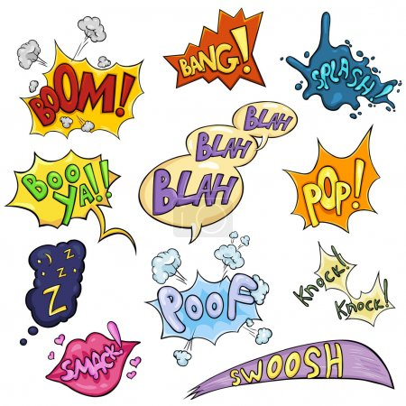 Illustration for Vector Set of Cartoon Comics Phrases and Effects. Boom, Bang, Splash, Boo ya, Blah-blah-blah, Pop, Z-z-z, Smack, Poof, Knock Knock, Swoosh. - Royalty Free Image