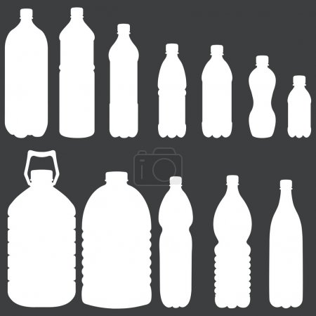 Illustration pour Silhouettes vectorielles de bouteilles en plastique - image libre de droit
