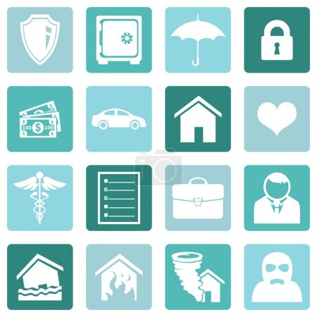 Illustration for Vector Set of Insurance Icons - Royalty Free Image