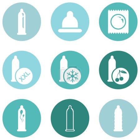 Set of Condom Icons.