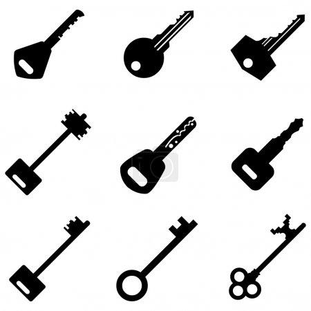Illustration pour Vecteur ensemble d'icônes de touches. touches modernes et antiques. types de clés - image libre de droit