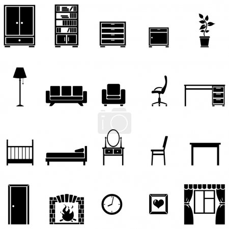 Set of 20 furniture  icons