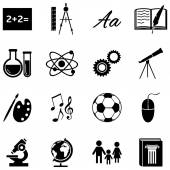 Vector Set of  School Subjects Icons on white background
