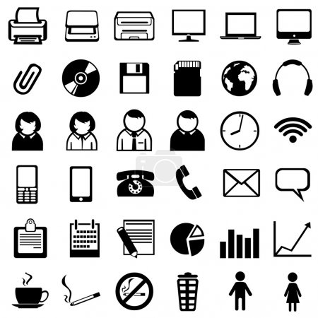 Set of 36 black office icons