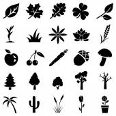 Vector set of plants icons on white background
