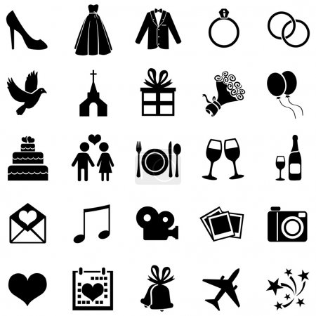 Set of 25  Wedding Icons
