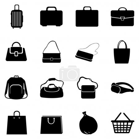 Illustration for Vector Set of Bags Icons on white background - Royalty Free Image
