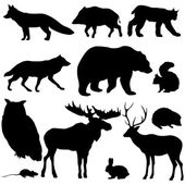 Vector set of forest animals silhouettes on white background