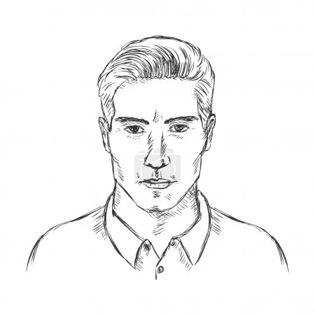 Single Sketch Male Face.
