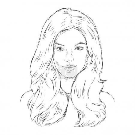 Single Sketch Female Face.