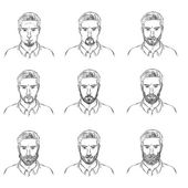 Set of Sketch  Mens Faces with Beards