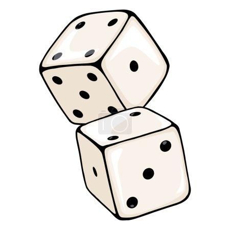 Vector Cartoon Two Dices. Casino Icon....