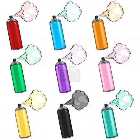 Illustration for Vector Set of Cartoon Color Aerosol Sprays with  Paint - Royalty Free Image