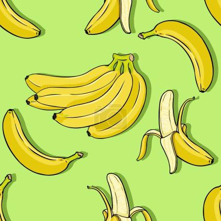 Illustration for Vector Cartoon Banana Background - Royalty Free Image