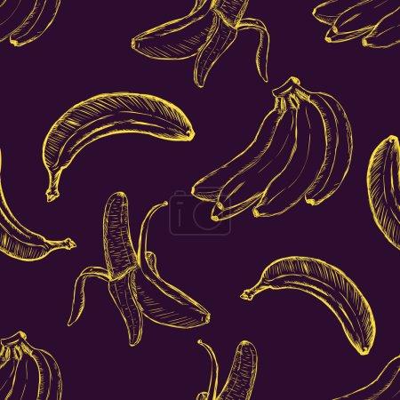 Illustration for Vector Sketch Banana Pattern Background - Royalty Free Image