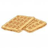 Vector Cartoon Viennese Waffles Belgian Waffles with Caramel