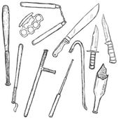 Vector Sketch Set of Edged Weapon