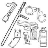 Set of Police Weapon and Equipment