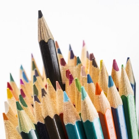 Pencils with one black on top