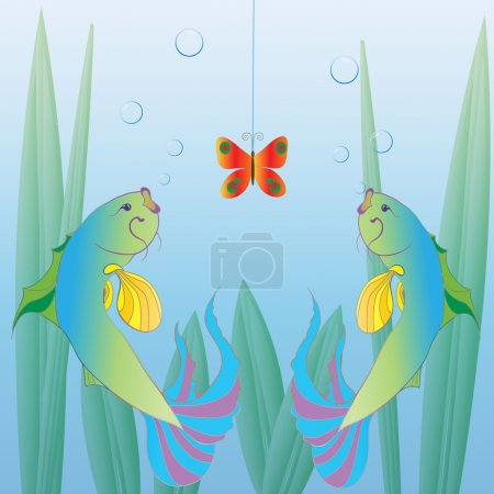 Illustration for 2 fishes illustration - Royalty Free Image