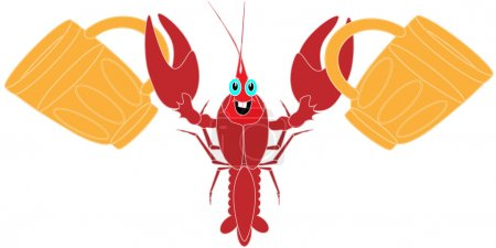 crayfish isolated white background