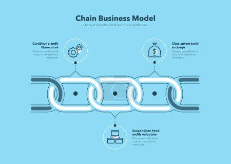 Infografía sencilla para el modelo de negocio en cadena con 3 pasos de proceso - versión azul. Diseño plano, fácil de usar para su sitio web o presentación.