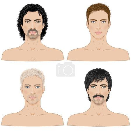 Illustration pour Image simplifiée des hommes avec différentes coiffures isolées sur blanc . - image libre de droit