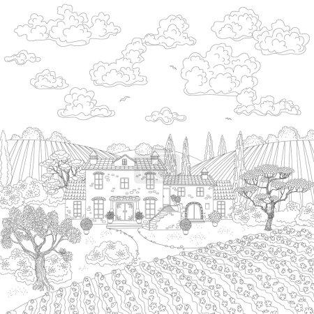 Dessin animé paysage profilée avec maison, les arbres et les nuages